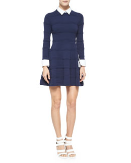 Alice + Olivia Textured-Stripe Dress w/Collar and Cuffs, Navy