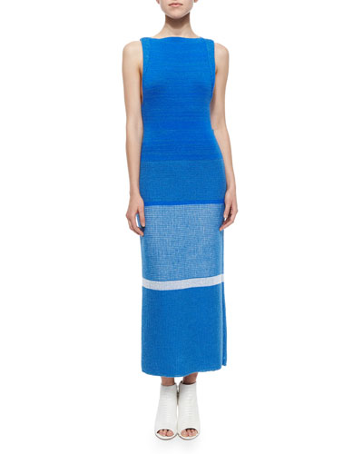 Long Patchwork Knit Sleeveless Dress, Blue Mix