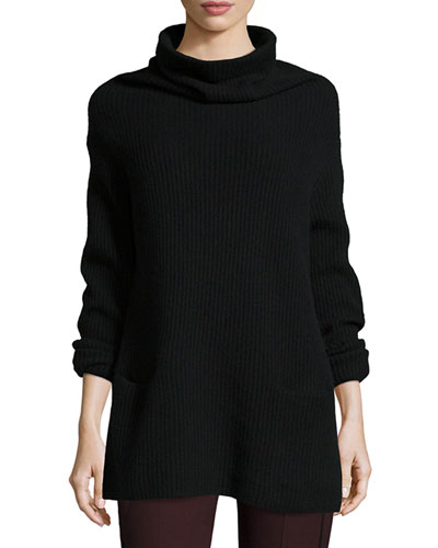 Oversize Ribbed Knit Turtleneck Dress