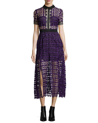 Short-Sleeve Guipure-Lace Midi Dress, Purple