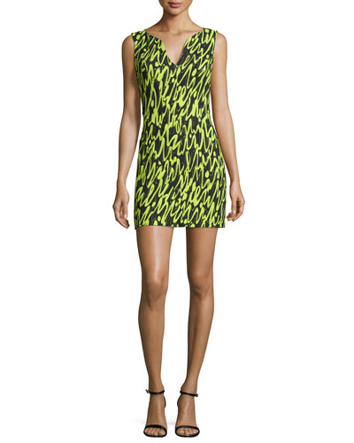 Sleeveless Graffiti Scribble-Print Mini Dress