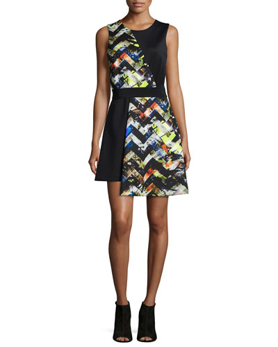Zigzag-Print Asymmetrical Dress