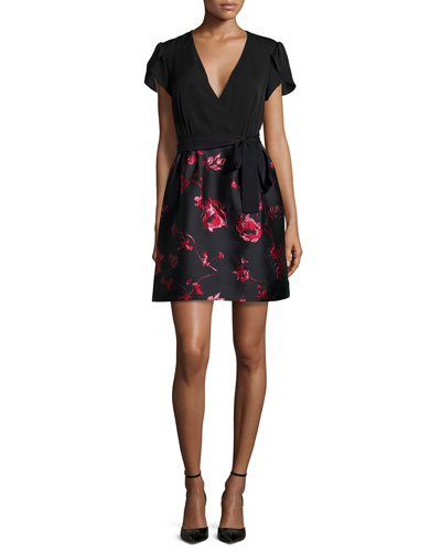 Short-Sleeve A-Line Combo Dress, Black/Red