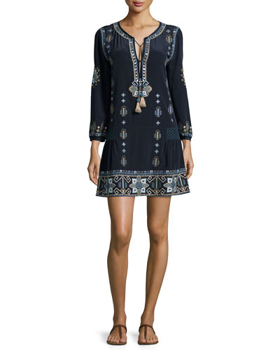 Nona Long-Sleeve Embroidered Dress, Navy