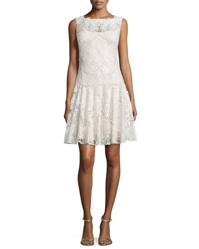 Sleeveless Floral-Lace Dress, White