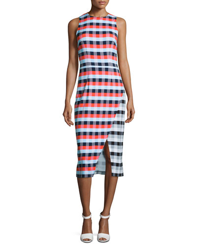 Gidget Macro-Plaid Midi Sheath Dress