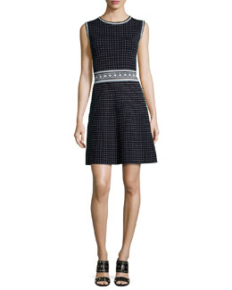 Tory Burch Sleeveless Geometric Fit & Flare Dress