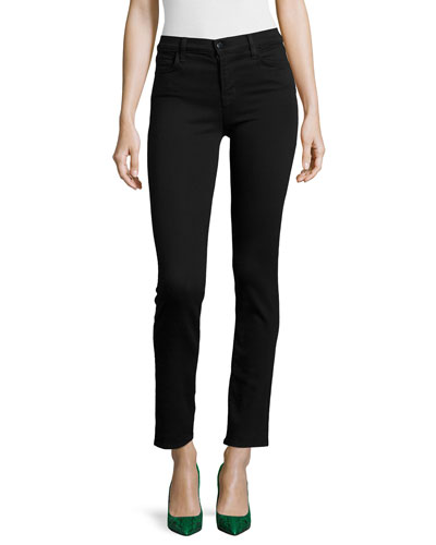 Maria Mid-Rise Straight-Leg Jeans, Seriously Black