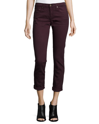 Dre Low-Rise Cropped Denim Jeans, Aged Wine