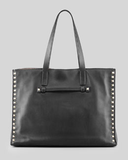 Valentino Rockstud Shopping Tote Bag, Black