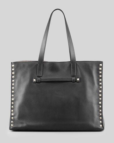 Rockstud Shopping Tote Bag, Black