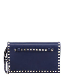 Valentino Rockstud Flap Clutch Bag, Blue