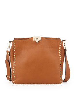 Valentino Rockstud Flip-Lock Messenger Bag, Tan