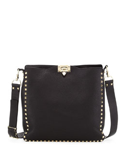 Valentino Rockstud Flip-Lock Messenger Bag, Black