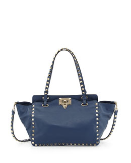 Valentino Rockstud Mini Tote Bag, Navy Blue