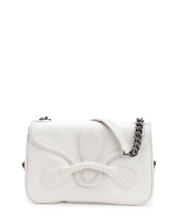 Bottega Veneta Medium Intrecciato Flap Shoulder Bag, White