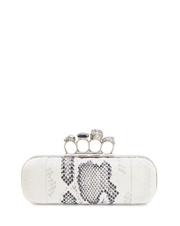 Alexander McQueen Python Long Knuckle-Duster Clutch Bag, Ivory/Black