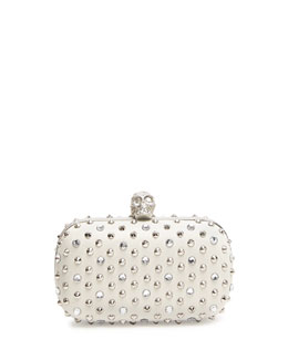 Alexander McQueen Stud & Crystal Skull-Clasp Clutch Bag, White