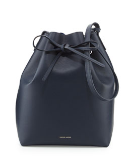 Mansur Gavriel Structured Leather Bucket Bag, Blue/Royal