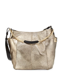Jimmy Choo Anna Metallic Shoulder Bag, Silver
