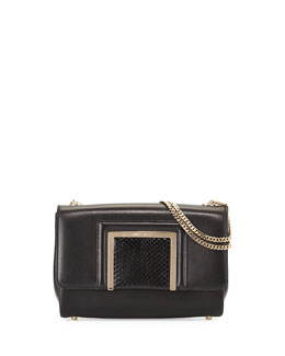 Jimmy Choo Alba Leather & Snakeskin Shoulder Bag, Black