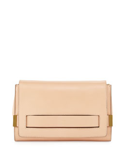 Chloe Elle Large Clutch Bag with Chain Strap, Nude