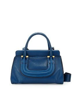 Chloe Everston Medium Double Satchel Bag, Cobalt