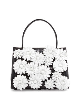 Nancy Gonzalez Medium Floral/Crocodile Satchel Bag, Black/White