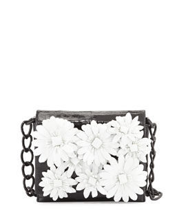 Nancy Gonzalez Small Crocodile Flower Chain Bag, Black/White