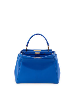 Fendi Peekaboo Mini Leather Satchel Bag, Blue