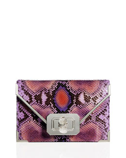 Marchesa Valentina Python Envelope Clutch Bag, Purple