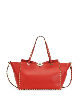 Valentino Rockstud Medium Grained Tote Bag, Red