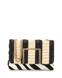 Jimmy Choo Alba Raffia/Calf Hair Shoulder Bag
