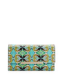 Christian Louboutin Rougissime Python Inferno Python & Leather Clutch Bag, Green/Blue/Multicolor