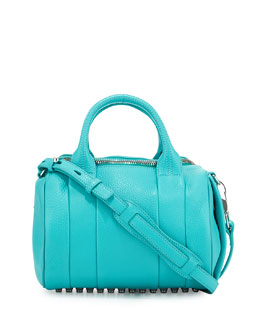 Alexander Wang Rocco Pebbled Leather Satchel Bag, Lagoon