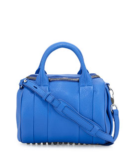 Alexander Wang Rocco Pebbled Leather Satchel Bag, Air Force