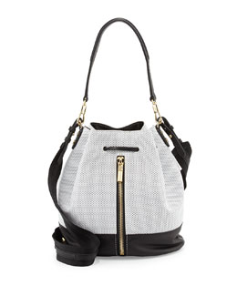 Elizabeth and James Cynnie Perforated Bucket Bag, White/Black