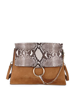 Chloe Faye Python Flap Shoulder Bag, Beige