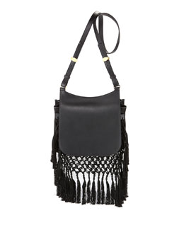 THE ROW Hunting 11 Woven Shoulder Bag, Black