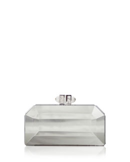 Judith Leiber Couture Faceted Box Clutch, Silver