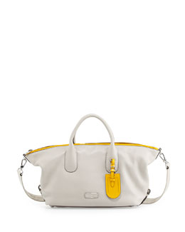 MARC by Marc Jacobs Legend Medium Zip Satchel Bag, Bone Multi