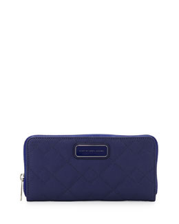 MARC by Marc Jacobs Sophisticato Quilted Slim Zip Wallet, Mineral Blue