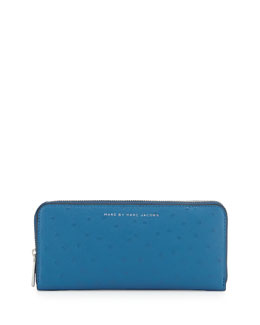 MARC by Marc Jacobs Sophisticato Ostrich-Print Slim Zip Wallet, Bluestone