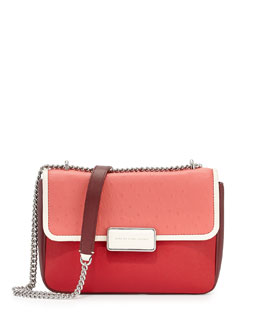 MARC by Marc Jacobs Rebel 24 Ostrich-Print Flap Bag, Rose Bush Multi