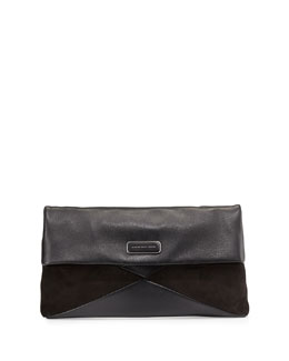 MARC by Marc Jacobs Leather and Suede Flap Clutch, Black