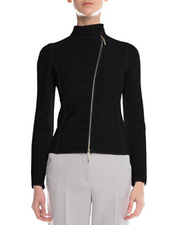 Giorgio Armani Piped Asymmetric Zip-Front Jacket, Black