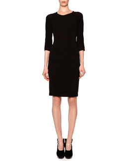 Giorgio Armani Ribbed Crepe-Inset Sheath Dress