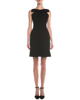 Giorgio Armani Crisscross Pleated Matte Crepe Dress