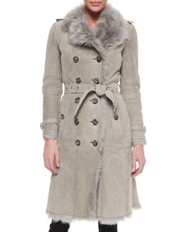 Burberry Double-Breasted Shearling Fur Trenchcoat