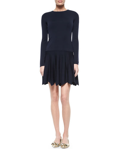 Long-Sleeve Knit Petal-Hem Dress